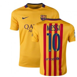 376eef29f98 Youth Barcelona #10 Lionel Messi Yellow Red Stripes Away Authentic Soccer Jersey  15/16 Spain Futbol Club Short Shirt For Sale Size XS/S/M/L/XL