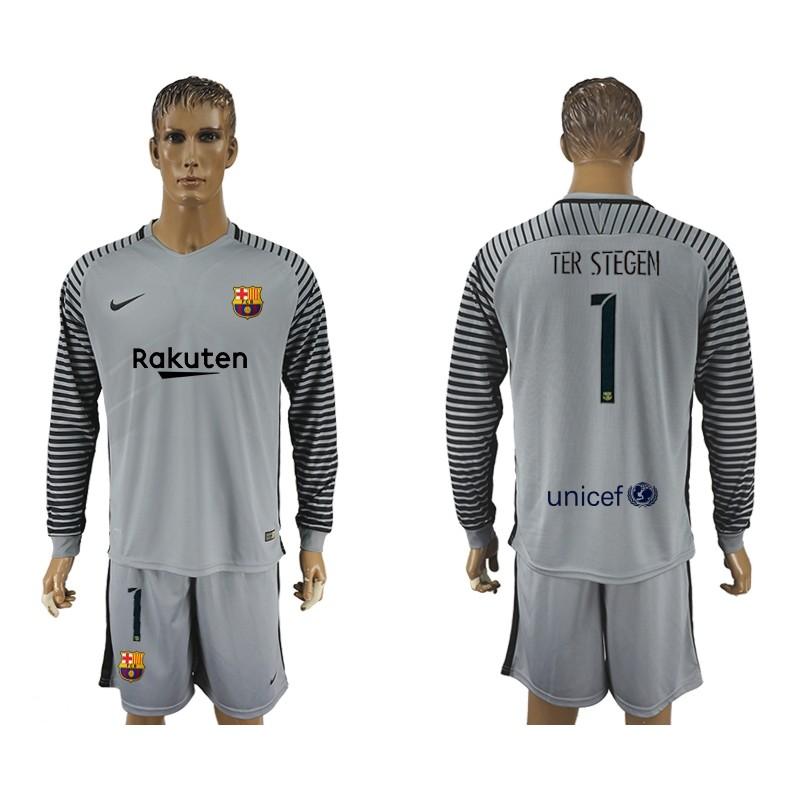 Fc Barcelona  1 Goalkeeper Long Sleeve Jersey 2017 18 Grey c2898d0ad