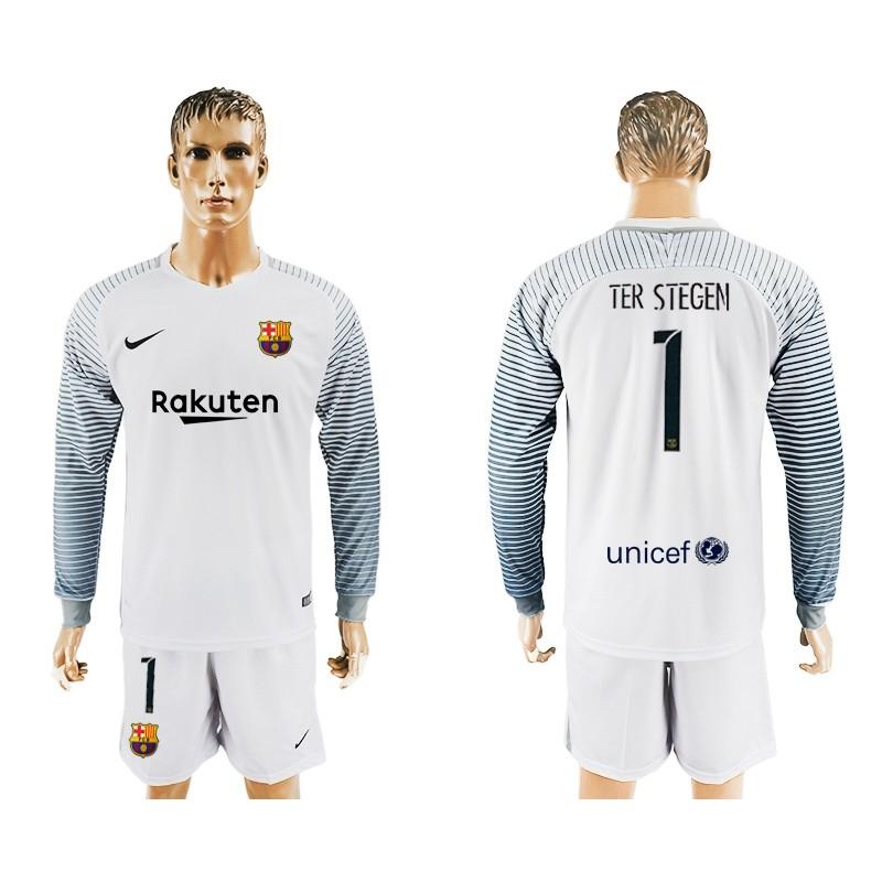 2d0a327e2 Fc Barcelona  1 Goalkeeper Long Sleeve Jersey 2017 18 White