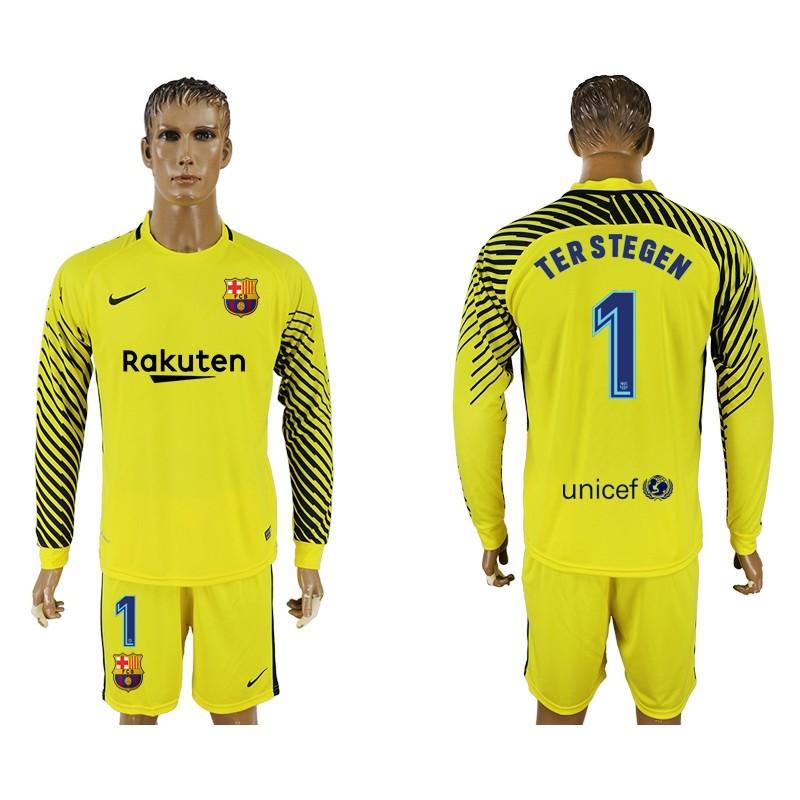Fc Barcelona  1 Goalkeeper Long Sleeve Jersey 2017 18 Yellow 9164528c9