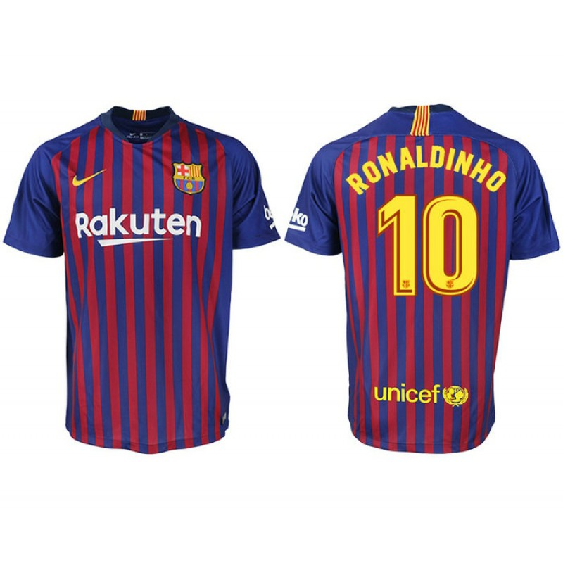 2018 19 Barcelona  10 RONALDINHO Home Authentic Blue   Red Stripes Jersey 4e8795ca1