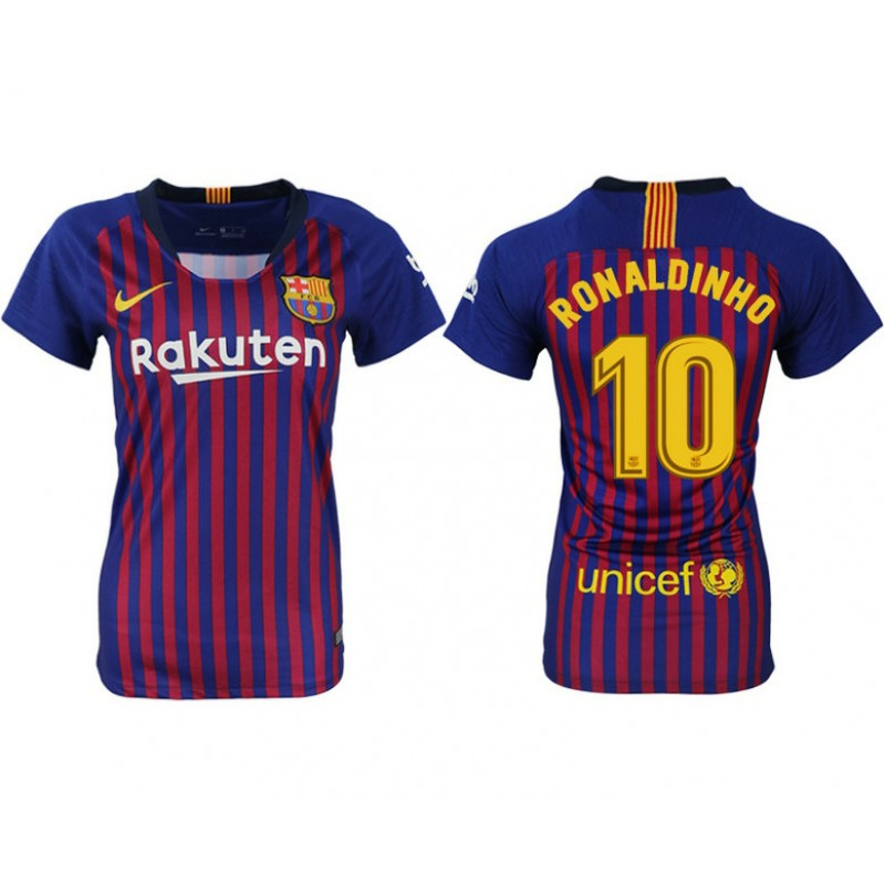 34c00b717 More Views. Women 2018 19 Barcelona  10 RONALDINHO Home Authentic Blue   Red  Stripes Jersey