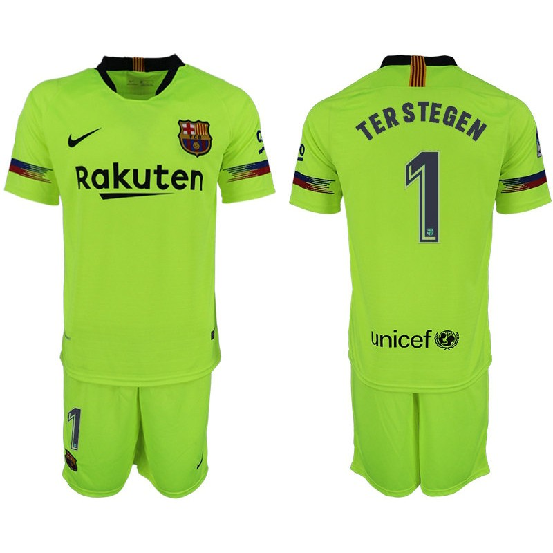 26b7c7a60 2018 19 Barcelona  1 TER STEGEN Away Replica Light Yellow Green Jersey