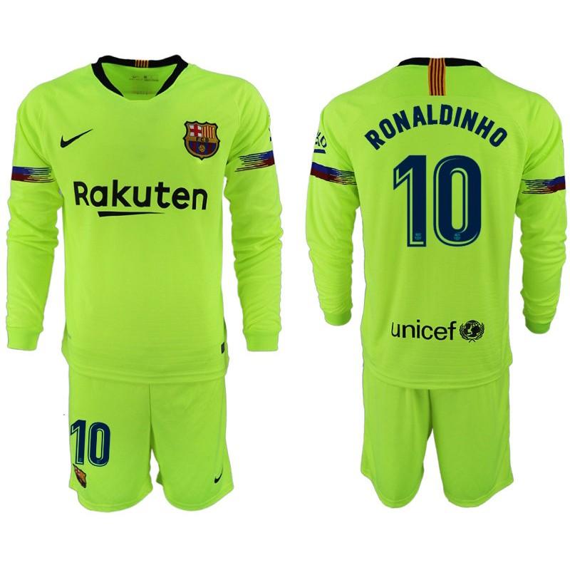 ff8895975 2018 19 Barcelona  10 RONALDINHO Away Long Sleeve Light Yellow Green Jersey