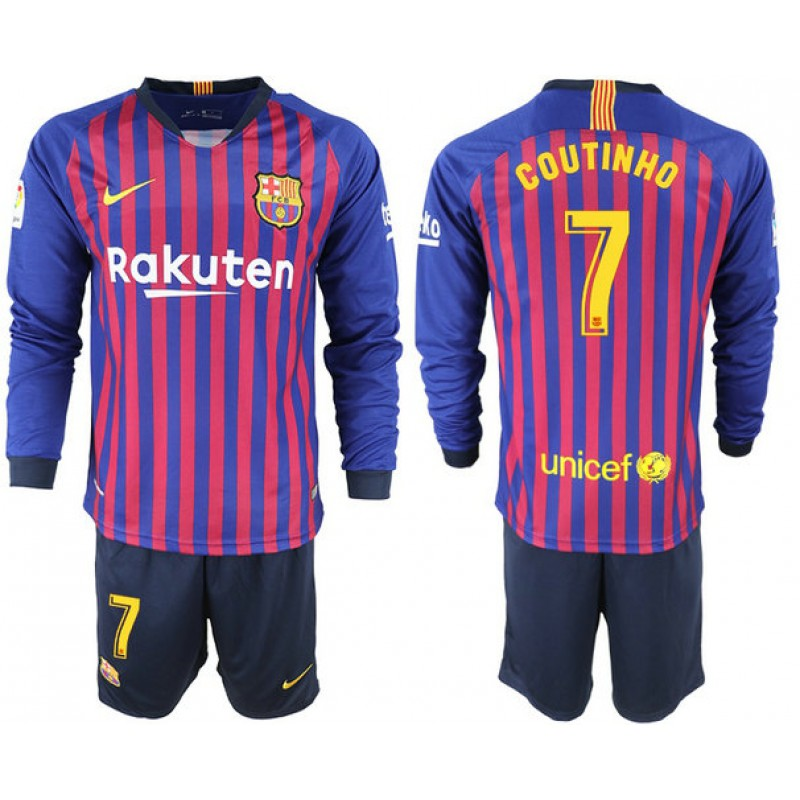 2e133a440 2018 19 Barcelona  7 COUTINHO Home Long Sleeve Blue   Red Stripes Jersey