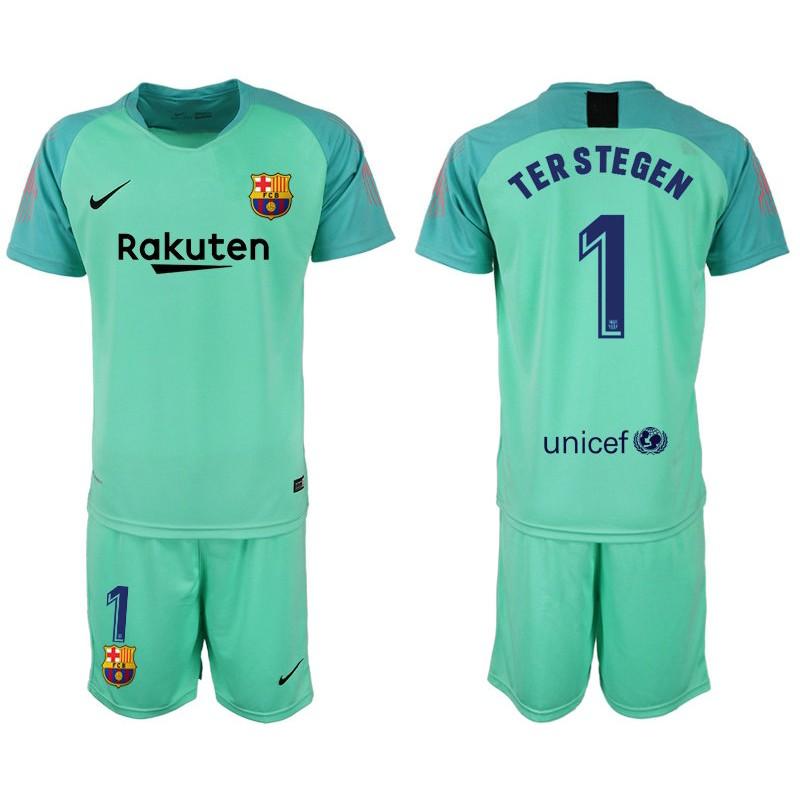 3aaebd3ba 2018 19 Barcelona  1 TER STEGEN Goalkeeper Short Shirt Green Jersey