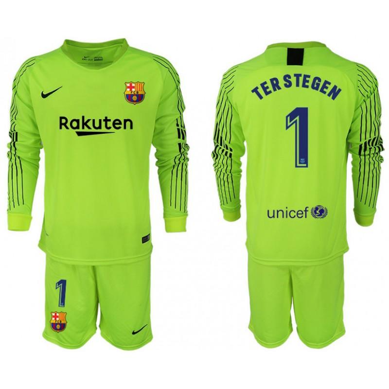 47014019c9f 2018 19 Barcelona  1 TER STEGEN Goalkeeper Long Sleeve Fluorescent Green  Jersey