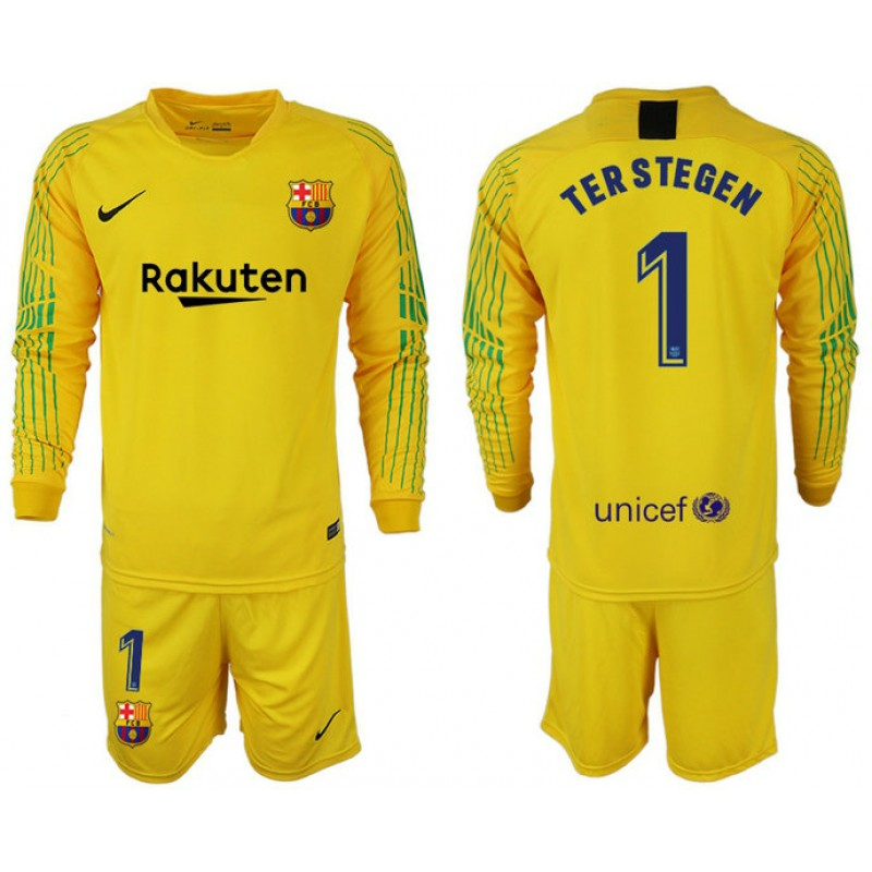 e74c6f198 2018 19 Barcelona  1 TER STEGEN Goalkeeper Long Sleeve Yellow Jersey