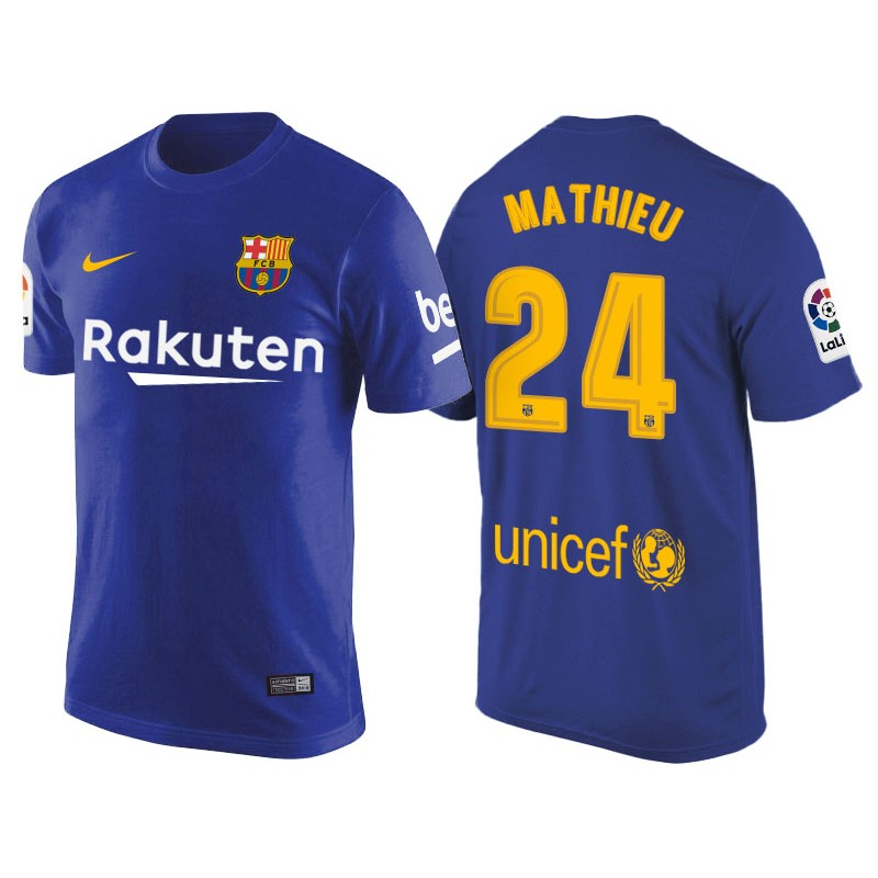 82755238966 Men s Barcelona  24 Jeremy Mathieu Navy Blue T-Shirt