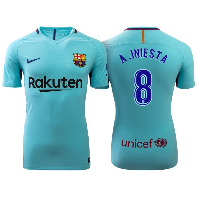 ... home Barcelona Shirt Andres Iniesta 8 Barcelona 2017-18 Sky Blue Away  Authentic J . ... c35b8eea720