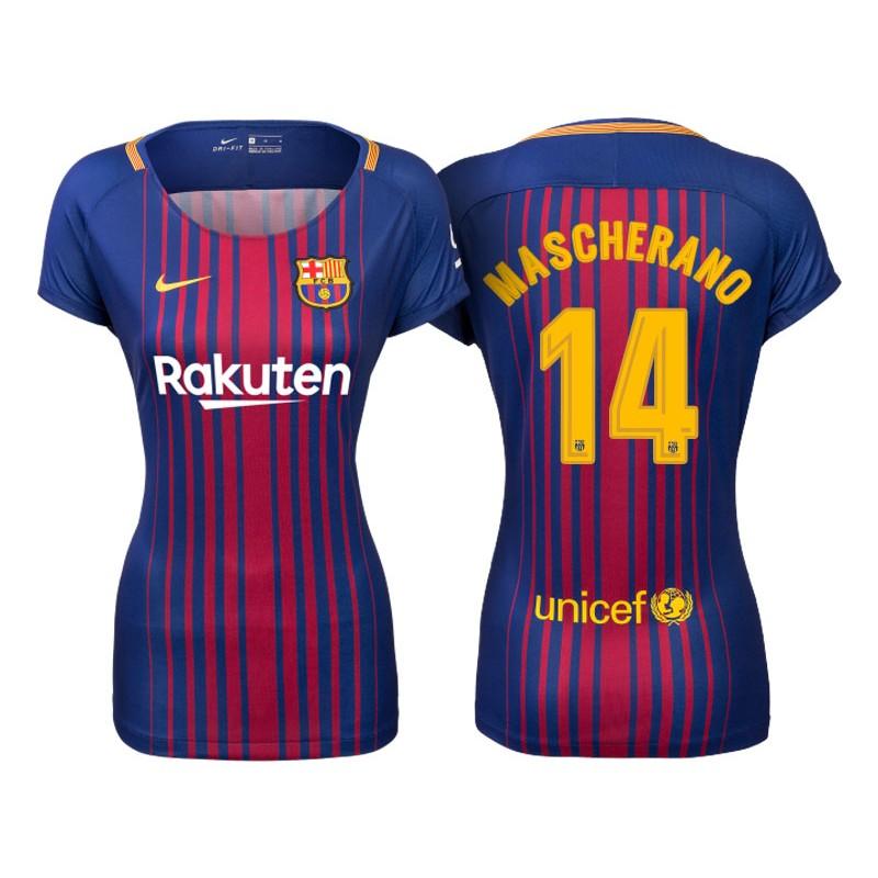 e28e5f40607 Women's 2017/18 Javier Mascherano #14 Barcelona Blue Red Stripes Replica  Home Jersey