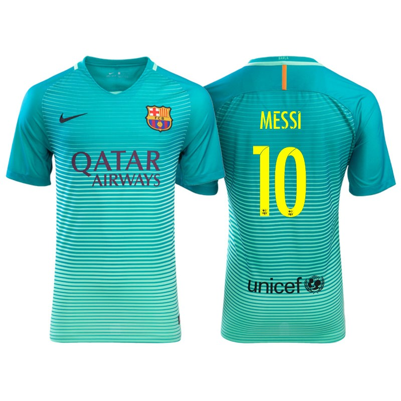 Men s Barcelona Lionel Messi Green Glow 2016 17 Replica Third Jersey e447464c3