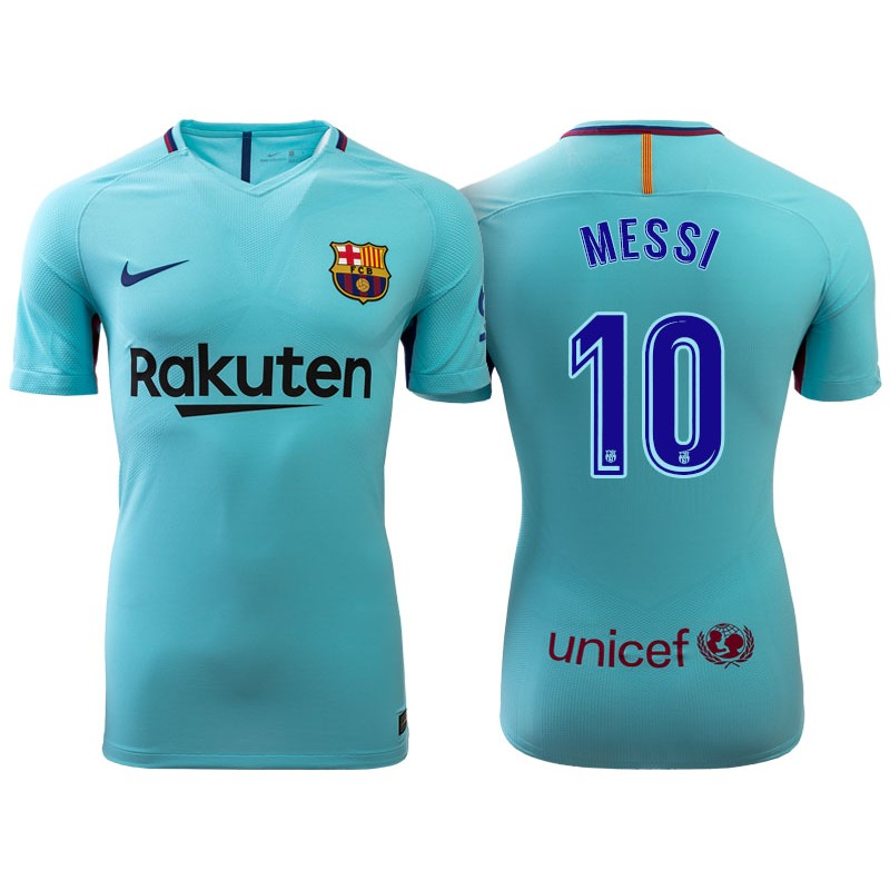f0e09651ae0 Lionel Messi  10 Barcelona 2017-18 Sky Blue Away Replica Jersey