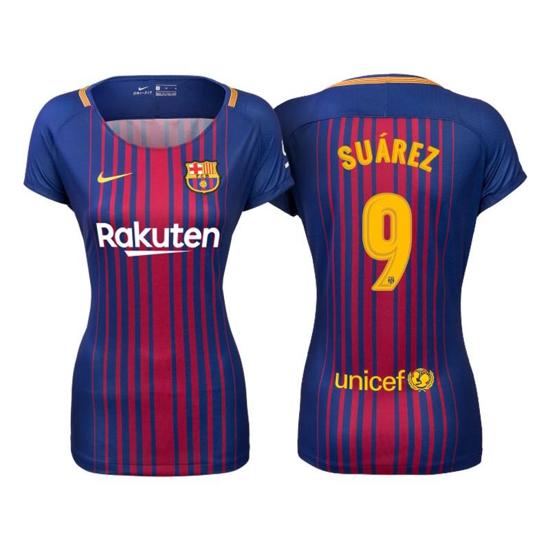 ... Womens 201718 Luis Suarez 9 Barcelona Blue Red Stripes Replica Home Jersey  2017-2018 ... ac25141b0a5aa