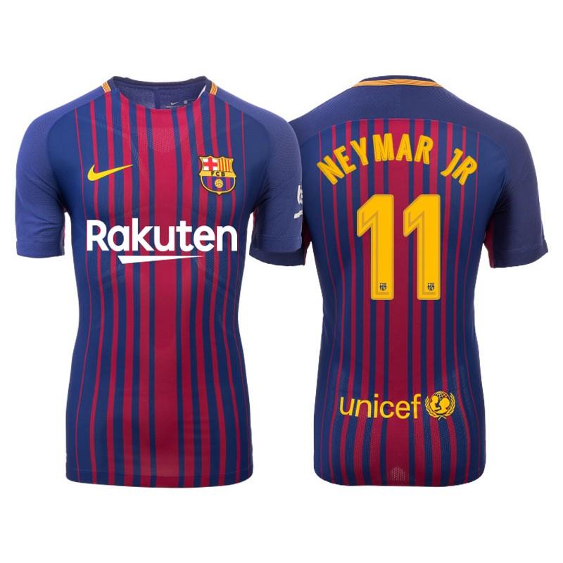 97af2bc02 Men s 2017 18 Neymar JR  11 Barcelona Blue Red Stripes Authentic Home Jersey