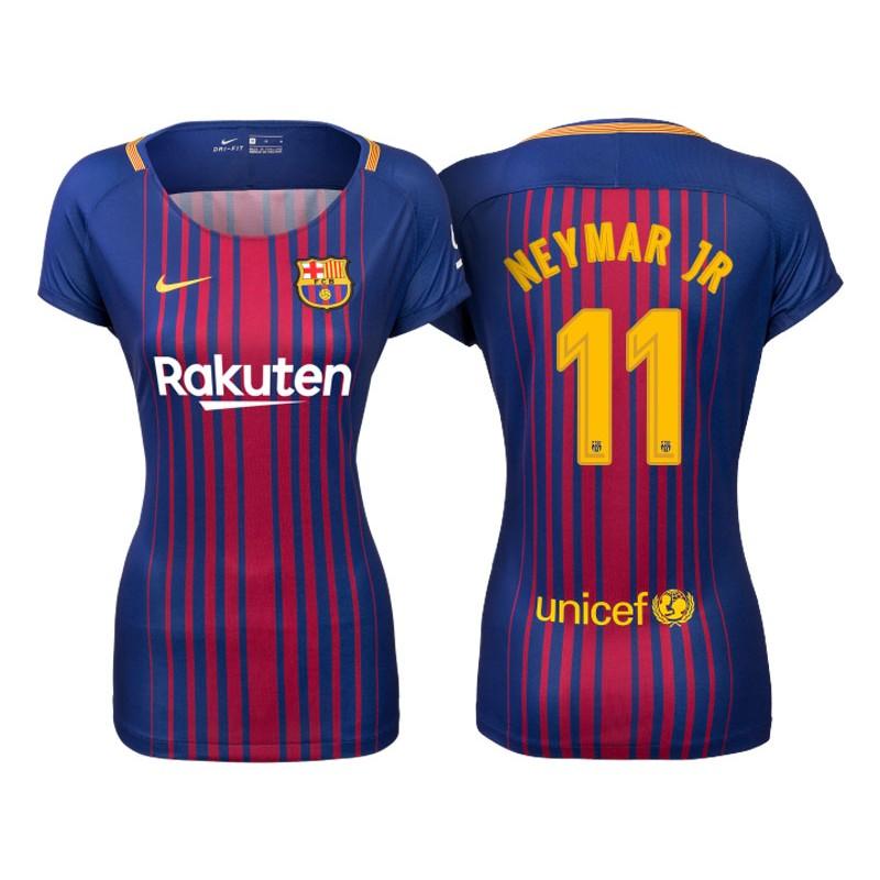 b47ccd456ab Women s 2017 18 Neymar JR  11 Barcelona Blue Red Stripes Replica Home Jersey