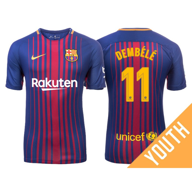 wholesale dealer 7ed8b f1383 Kid's Ousmane Dembele #11 Barcelona 2017-18 Royal Home ...