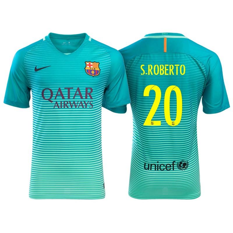 Men s Barcelona Sergi Roberto Green Glow 2016 17 Replica Third Jersey 186f34524b35f