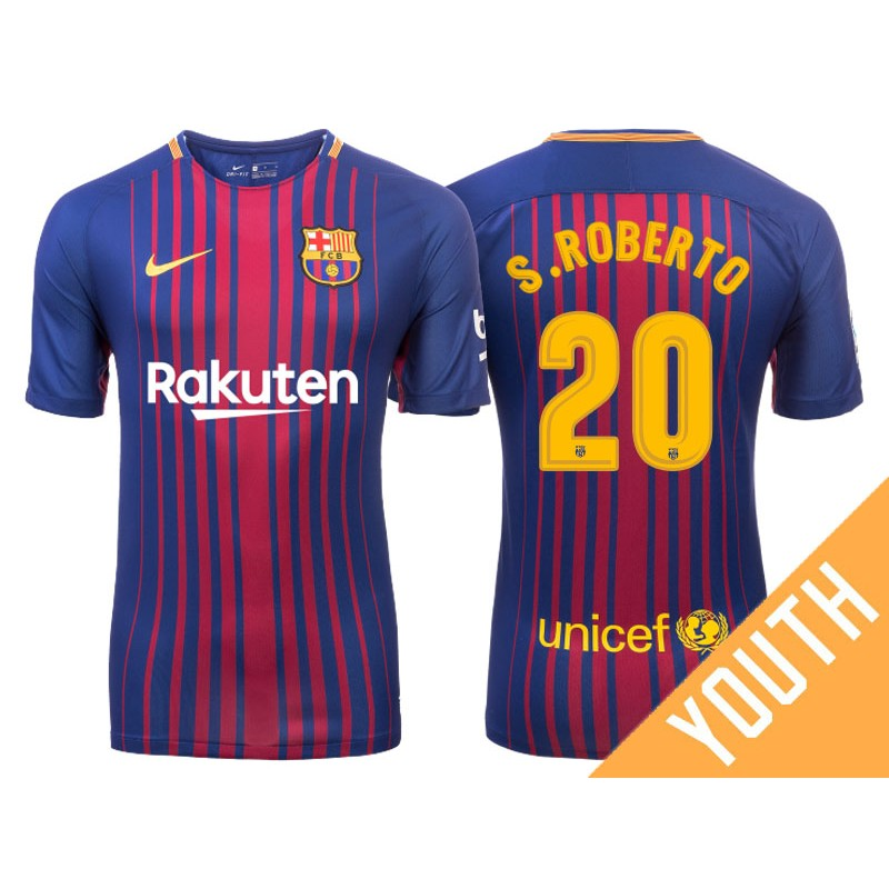 0f9f1d197 Youth 2017 18 Sergi Roberto  20 Barcelona Blue Red Stripes Home Jersey