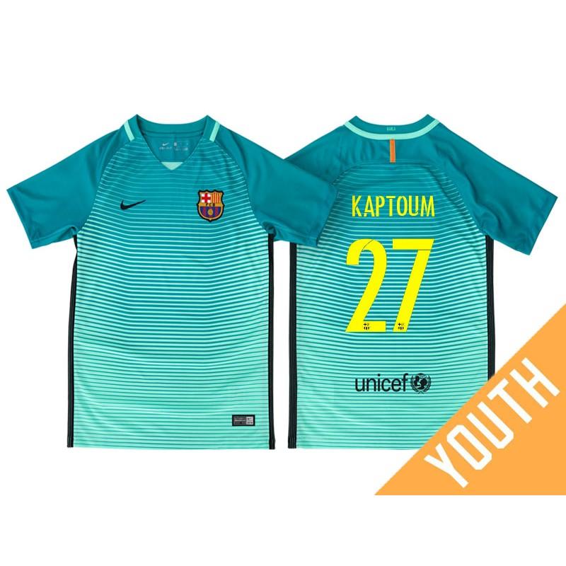 Youth Barcelona Wilfrid Jaures Kaptoum Green Glow 2016 17 Third Jersey aa2eef7f8dd40
