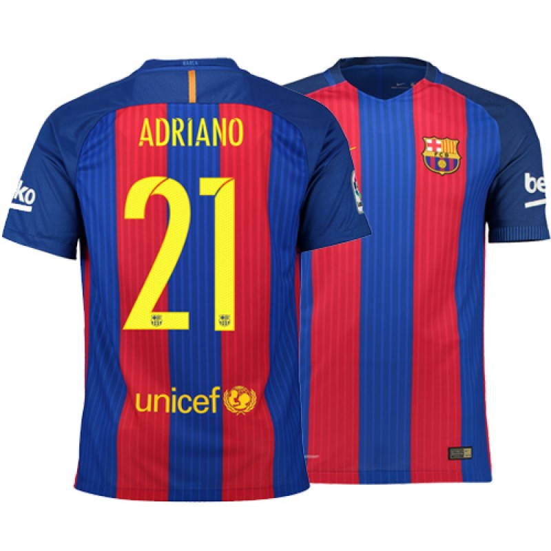 68c4b30ed57 Barcelona 2016 17 Adriano Home Jersey - Authentic Blue Red Stripes Barcelona   21 Short Shirt For Sale Size XS S M L XL