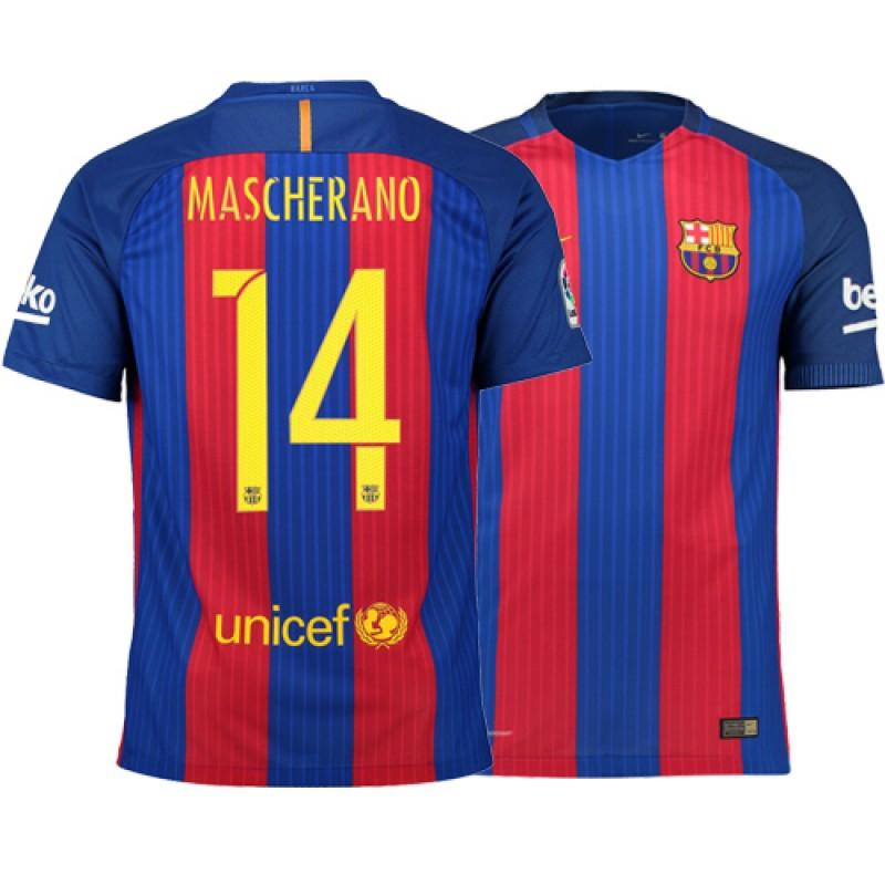 Barcelona 2016/17 Javier Mascherano Home Jersey - Authentic Blue Red  Stripes Barcelona #14 Short Shirt For Sale Size XS S M L XL