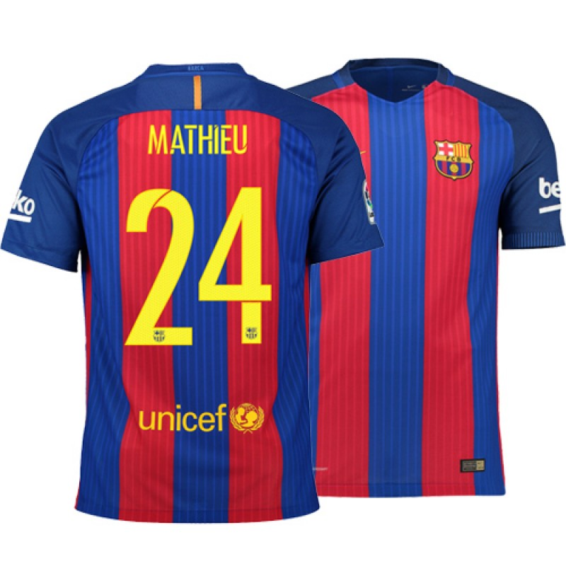 59217e88a62 Barcelona 2016 17 Jeremy Mathieu Home Jersey - Authentic Blue Red Stripes  Barcelona  24 Short Shirt For Sale Size XS S M L XL