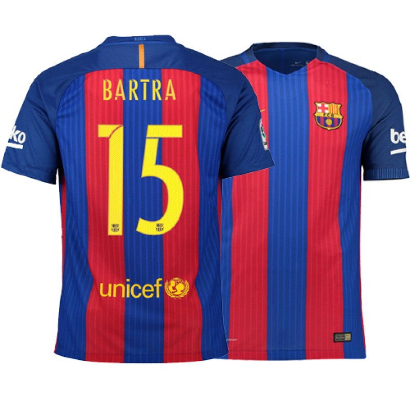 Barcelona 2016/17 Marc Bartra Home Jersey - Authentic Blue Red Stripes  Barcelona #15 Short Shirt For Sale Size XS S M L XL