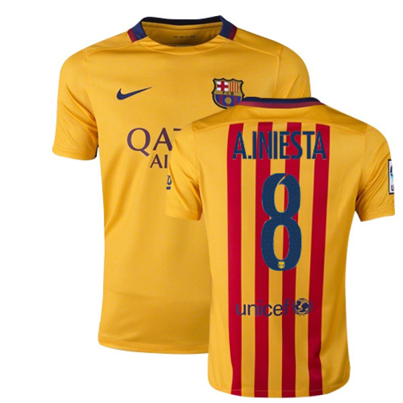 Youth Barcelona  8 Andres Iniesta Yellow Red Stripes Away Authentic Soccer  Jersey 15 16 Spain Futbol Club Short Shirt For Sale Size XS S M L XL 9ac1a2564c6