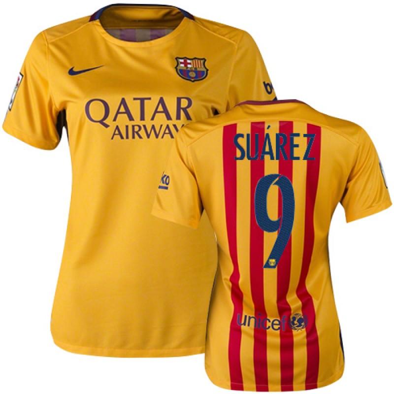 factory price ebaf2 5dcd6 Women's Barcelona #9 Luis Suarez Yellow Red Stripes Away ...