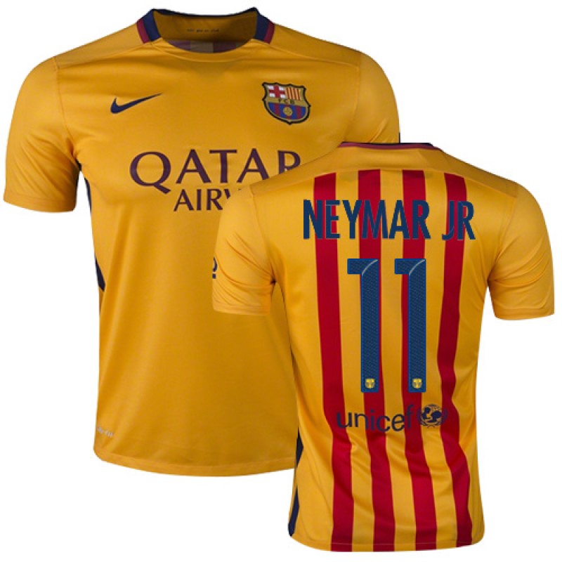 low priced e1c0a 489cf Barcelona #11 Neymar JR Yellow Red Stripes Away Authentic ...