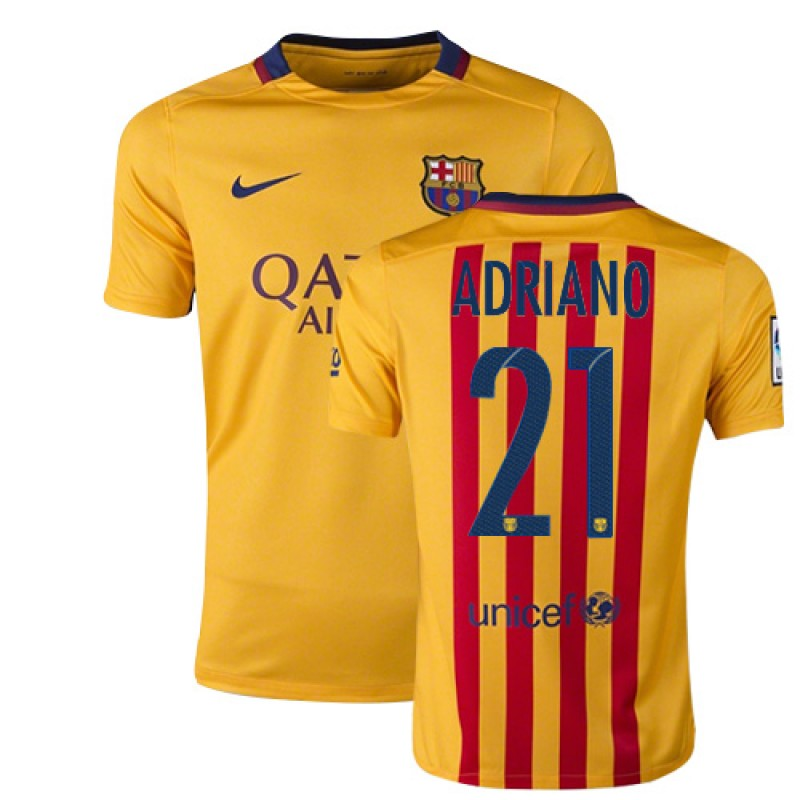 f8c3af43589 Youth Barcelona #21 Adriano Yellow Red Stripes Away Authentic Soccer Jersey  15/16 Spain Futbol Club Short Shirt For Sale Size XS/S/M/L/XL