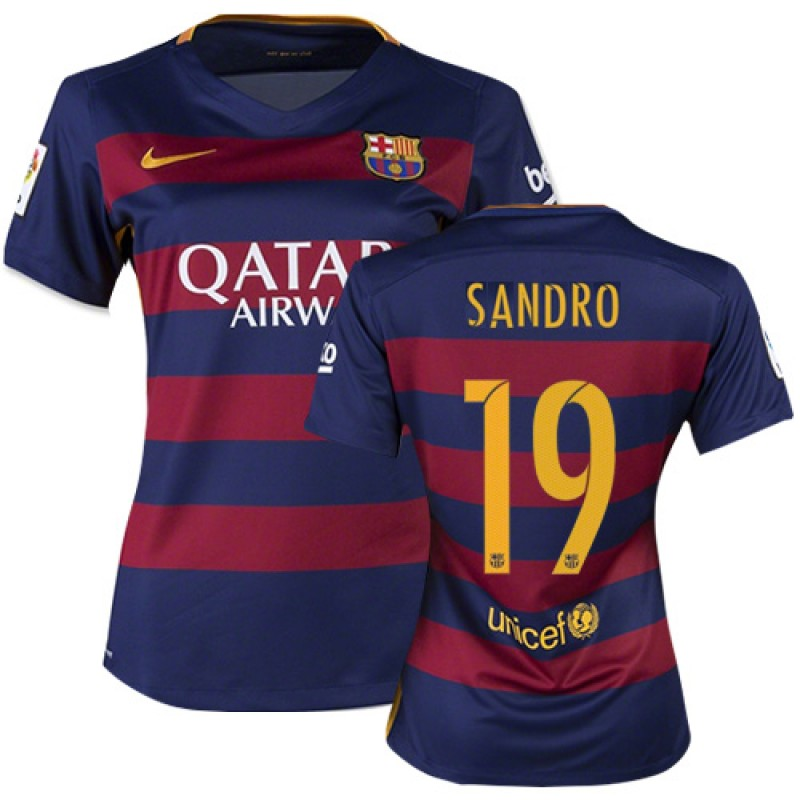 16fbea67f Women s Barcelona  19 Sandro Ramirez Blue Red Stripes Home Authentic Soccer  Jersey 15 16 Spain Futbol Club Short Shirt For Sale Size XS S M L XL