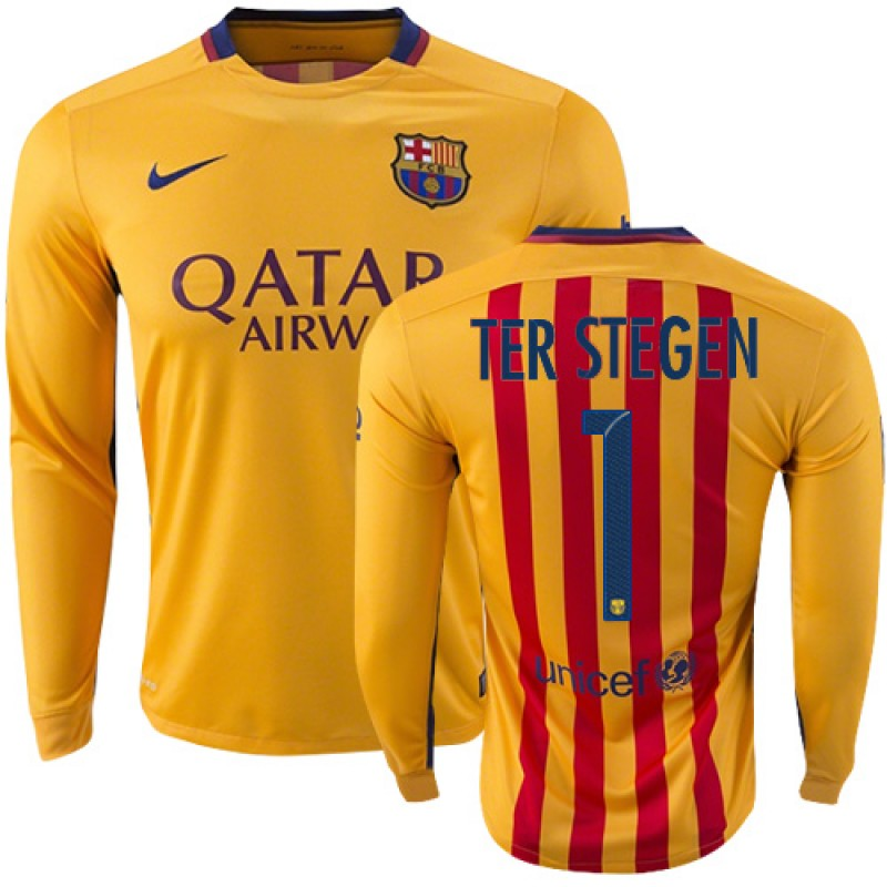 055d16e244e Youth Barcelona  1 Marc-Andre Ter Stegen Yellow Red Stripes Away Replica  Soccer Jersey 15 16 Spain Futbol Club Long Sleeve Shirt For Sale Size  XS S M L XL