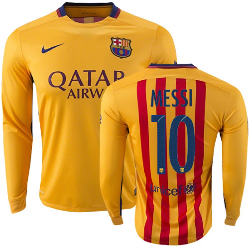 a90a2bc865c Barcelona  10 Lionel Messi Yellow Red Stripes Away Replica Soccer Jersey  15 16 Spain Futbol Club Long Sleeve Shirt For Sale Size XS S M L XL