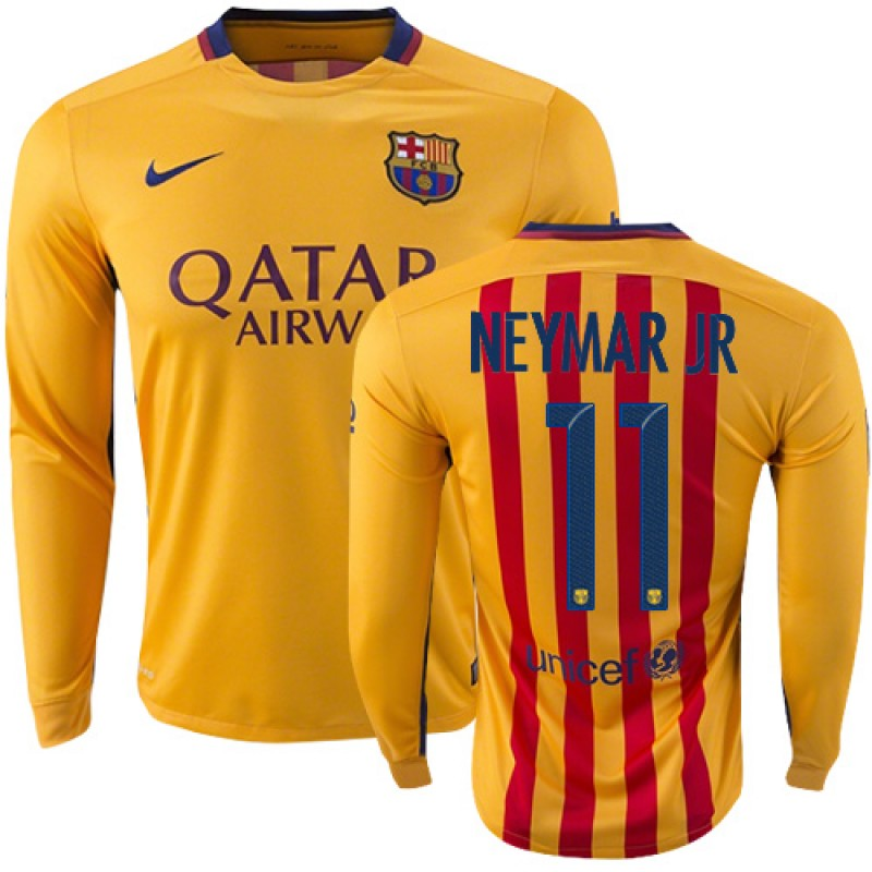 20834addb Youth Barcelona  11 Neymar JR Yellow Red Stripes Away Authentic Soccer  Jersey 15 16 Spain Futbol Club Long Sleeve Shirt For Sale Size XS S M L XL