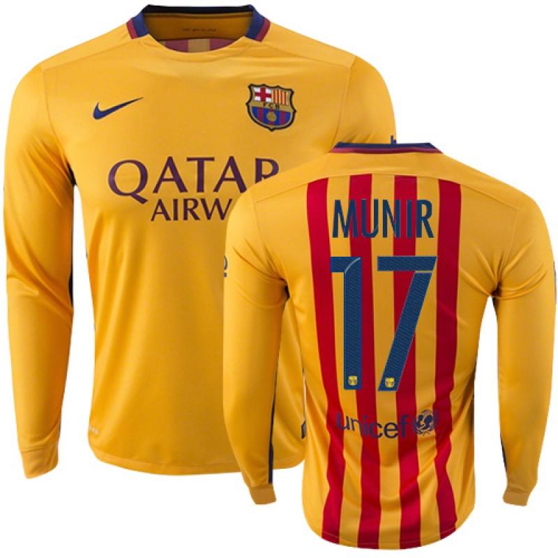 e274b15bb Youth Barcelona  17 Munir El Haddadi Yellow Red Stripes Away Replica Soccer  Jersey 15 16 Spain Futbol Club Long Sleeve Shirt For Sale Size XS S M L XL