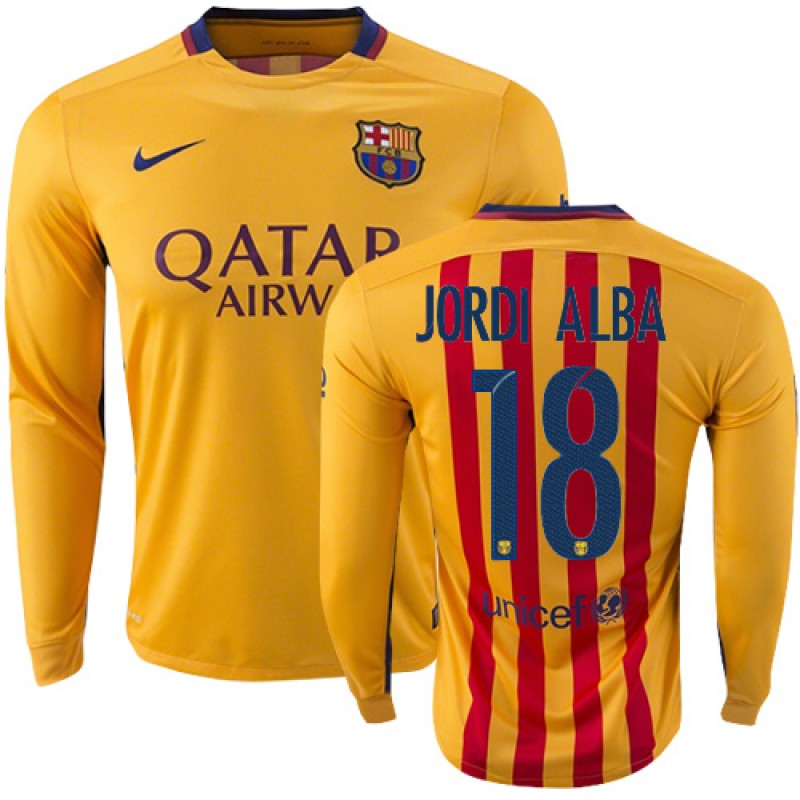 351e0b55820 Youth Barcelona #18 Jordi Alba Yellow Red Stripes Away Authentic Soccer  Jersey 15/16 Spain Futbol Club Long Sleeve Shirt For Sale Size XS/S/M/L/XL
