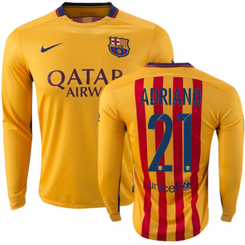 0ebc3652ebf Barcelona  21 Adriano Yellow Red Stripes Away Authentic Soccer Jersey 15 16  Spain Futbol Club Long Sleeve Shirt For Sale Size XS S M L XL