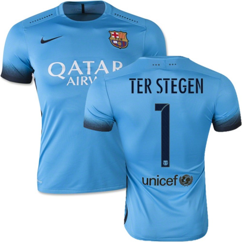 55685c0fe Barcelona  1 Marc-Andre Ter Stegen Light Blue Third Replica Soccer Jersey  15 16 Spain Futbol Club Short Shirt For Sale Size XS S M L XL