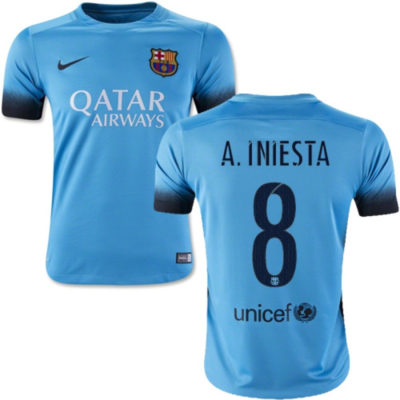Youth Barcelona  8 Andres Iniesta Light Blue Third Authentic Soccer Jersey  15 16 Spain Futbol Club Short Shirt For Sale Size XS S M L XL f9c3c9bcab3
