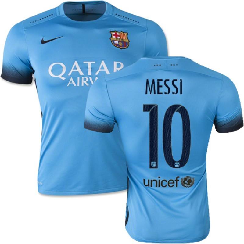 buy popular a755f 30af4 Barcelona #10 Lionel Messi Light Blue Third Replica Soccer ...