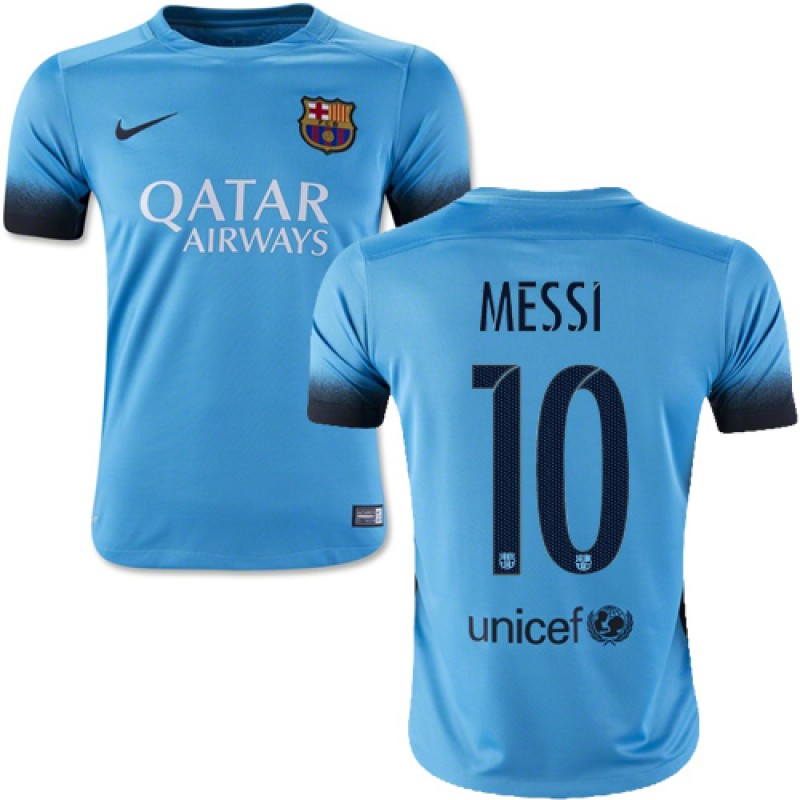 23cb070dd Youth Barcelona  10 Lionel Messi Light Blue Third Replica Soccer Jersey  15 16 Spain Futbol Club Short Shirt For Sale Size XS S M L XL