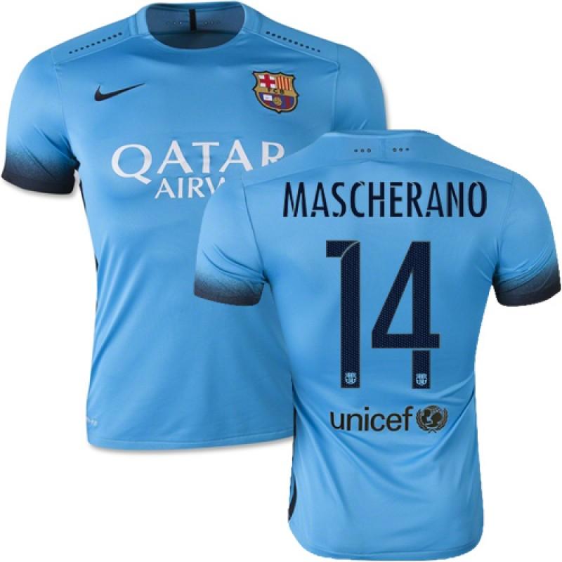 87723a4db99 Barcelona #14 Javier Mascherano Light Blue Third Replica Soccer Jersey  15/16 Spain Futbol Club Short Shirt For Sale Size XS/S/M/L/XL