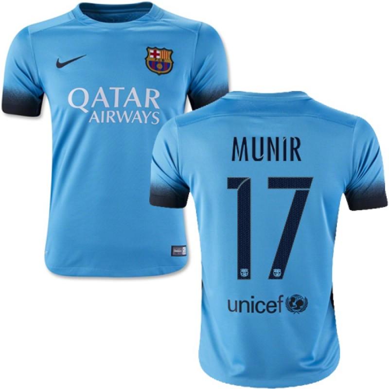 529a12787 Youth Barcelona  17 Munir El Haddadi Light Blue Third Authentic Soccer  Jersey 15 16 Spain Futbol Club Short Shirt For Sale Size XS S M L XL