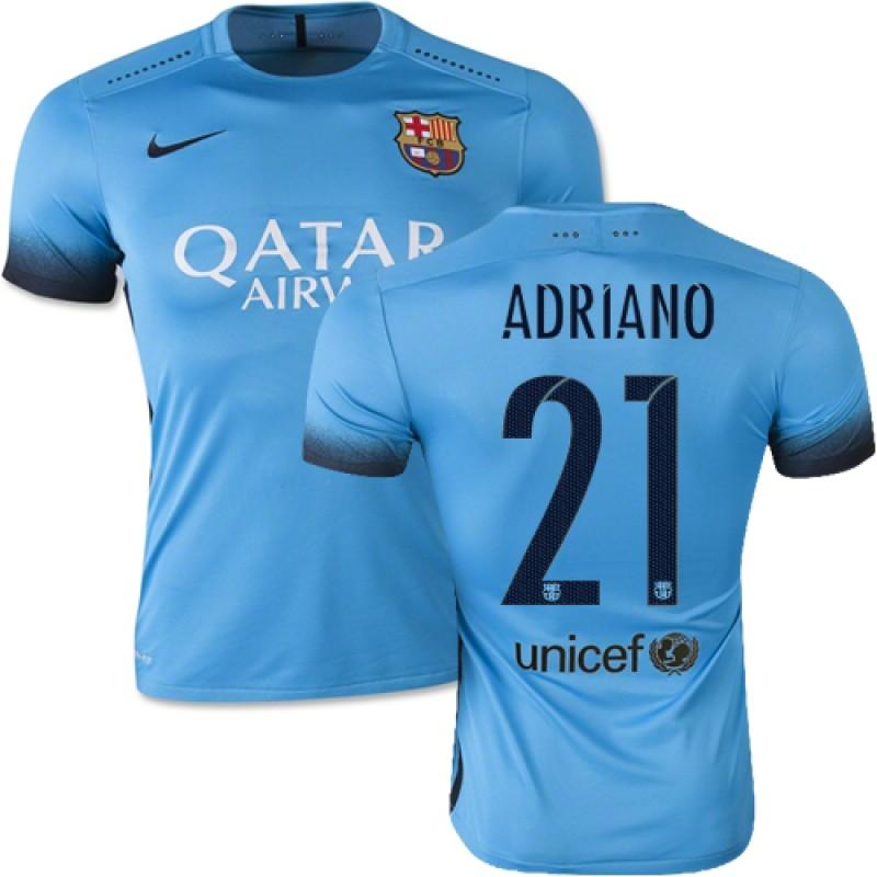 de1c586ed3d Barcelona  21 Adriano Light Blue Third Replica Soccer Jersey 15 16 Spain  Futbol Club Short Shirt For Sale Size XS S M L XL