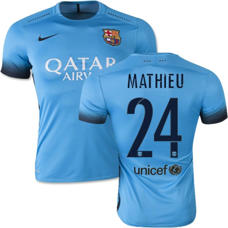 689efb897 Barcelona  24 Jeremy Mathieu Light Blue Third Authentic Soccer Jersey 15 16  Spain Futbol Club Short Shirt For Sale Size XS S M L XL
