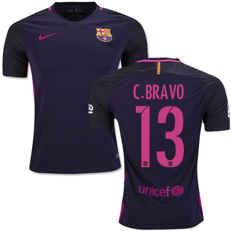 7695a16b45e 16 17 Barcelona  13 Claudio Bravo Purple Away Replica Jersey ...