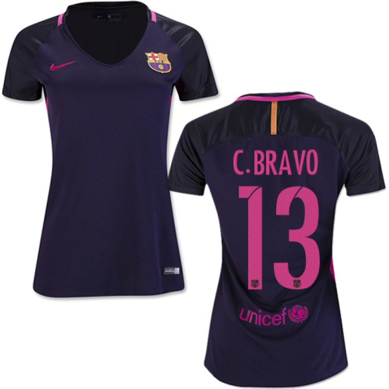 cef2db1a1ea Women s 16 17 Barcelona  13 Claudio Bravo Purple Away Authentic Jersey