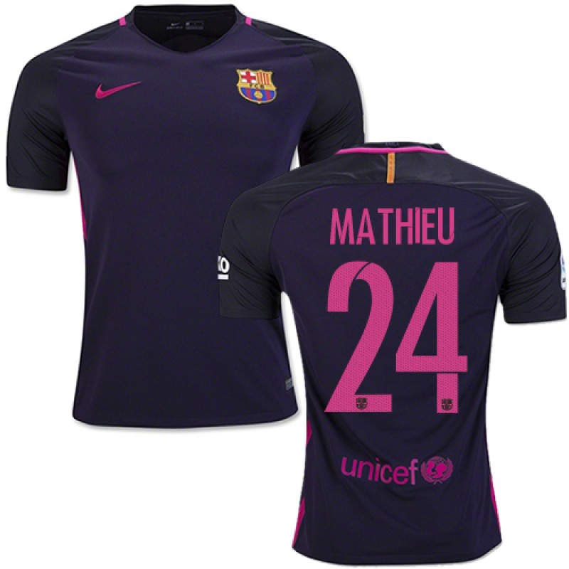 24d59f42ba4 16 17 Barcelona  24 Jeremy Mathieu Purple Away Replica Jersey ...